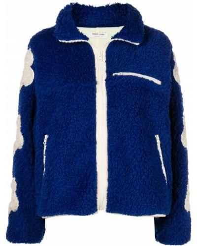 Синяя куртка на молнии с вышивкой Sandy Liang