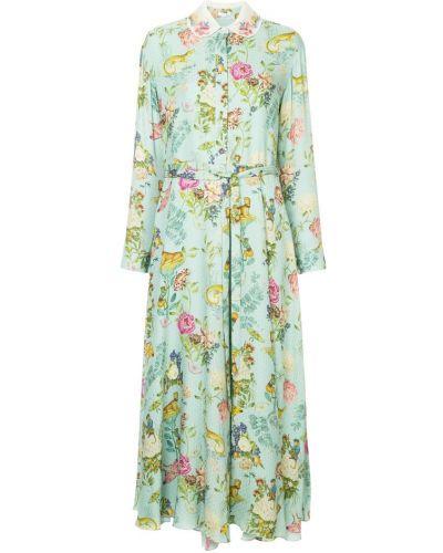 Платье макси с длинными рукавами - синее Vilshenko