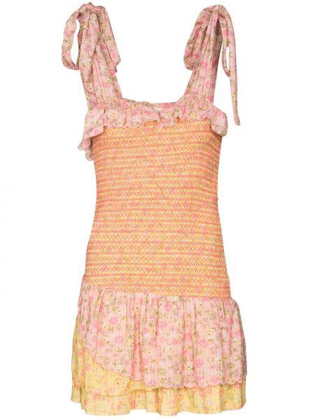 Хлопковое розовое платье мини без рукавов Loveshackfancy