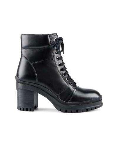 Кожаные черные кожаные ботильоны милитари матовые Ekonika