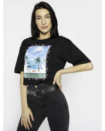 Czarny t-shirt na plażę Guess