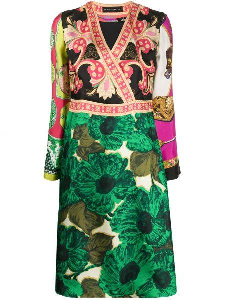Шелковое платье миди - розовое Etro