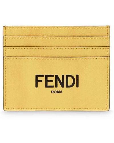 Żółty portfel skórzany Fendi