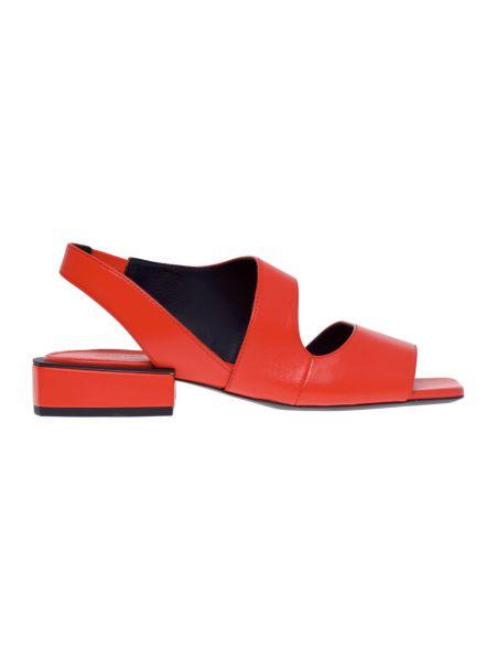 Czerwone sandały na obcasie skorzane Vic Matie