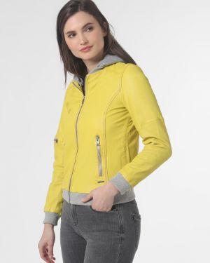 Żółta kurtka skórzana z kapturem Rino & Pelle