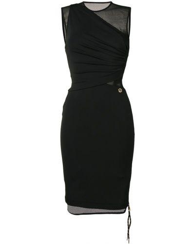 Плиссированное приталенное черное джинсовое платье Versace Jeans