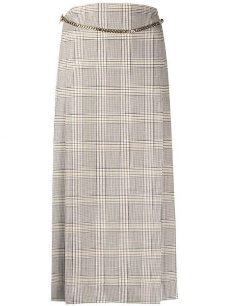 Шерстяная с завышенной талией юбка миди в клетку Victoria Beckham
