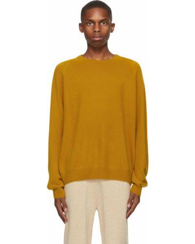 Żółty z kaszmiru długi sweter z długimi rękawami Frenckenberger