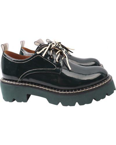 Кожаные туфли - зеленые Brocoly