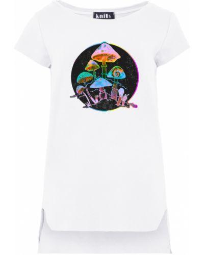 Biała bluzka asymetryczna z printem Knitis