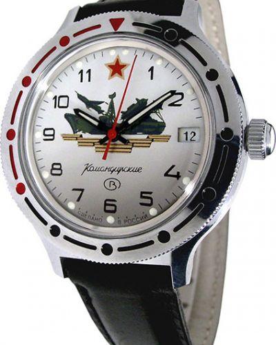 Часы механические водонепроницаемые с кожаным ремешком Vostok