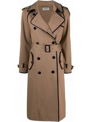 Коричневое кожаное пальто Saint Laurent