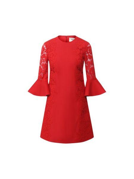 Платье мини из вискозы с кружевными рукавами Valentino