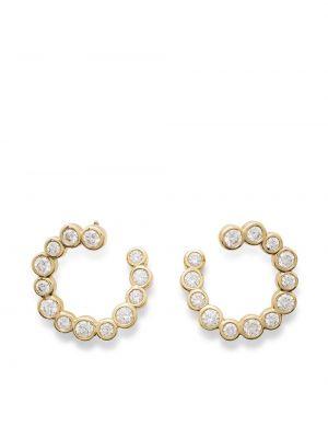 Золотистые серьги-кольца золотые с бриллиантом Ippolita