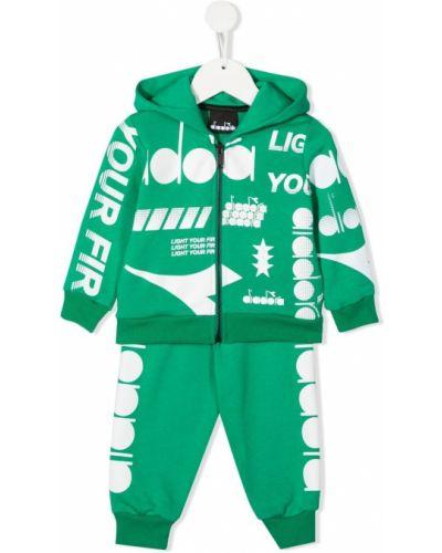 Zielony dres bawełniany z długimi rękawami Diadora Junior