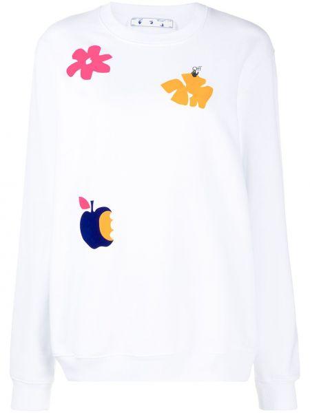 Bawełna biały bluza przycięte z długimi rękawami Off-white