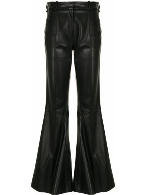 Расклешенные кожаные черные брюки Khaite