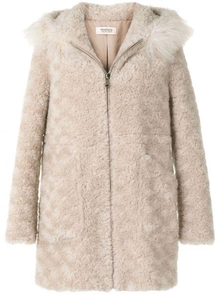 Розовое шерстяное длинное пальто с капюшоном Yves Salomon Meteo