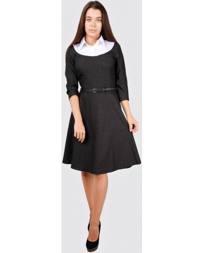 Приталенное платье с воротником на молнии для офиса Lila Classic Style