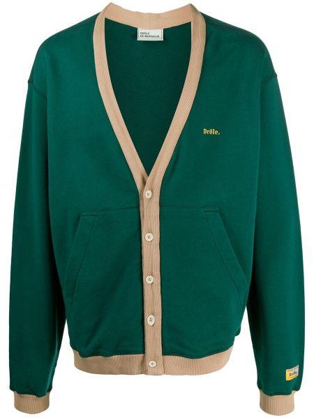 Zielony kardigan z haftem z długimi rękawami Drole De Monsieur