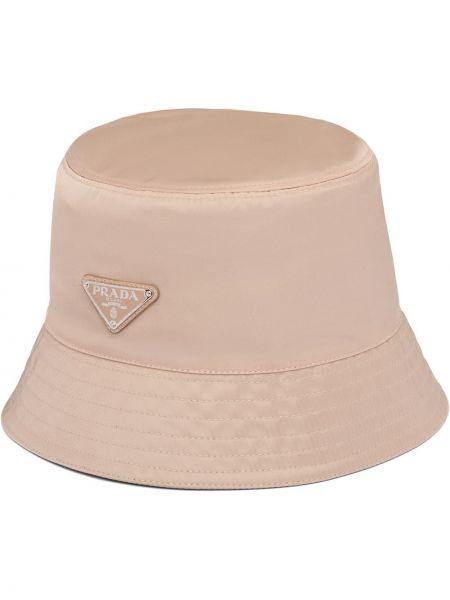 Beżowy kapelusz z nylonu Prada