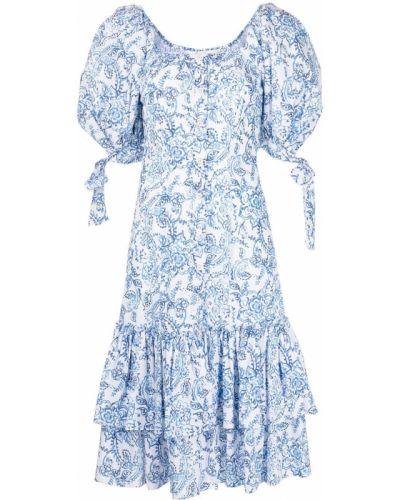 Белое платье миди в цветочный принт квадратное Caroline Constas