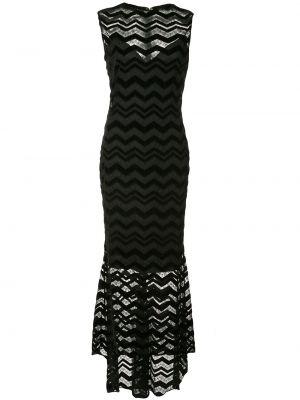 Черное приталенное платье без рукавов с вырезом Christian Siriano