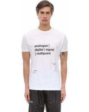 Prążkowany biały t-shirt bawełniany Tdt - Tourne De Transmission