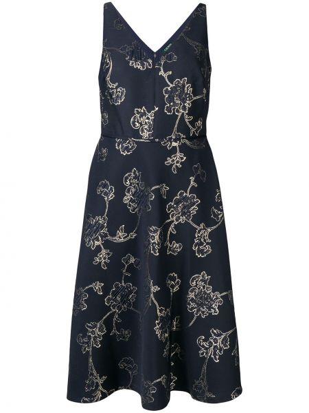 Синее платье миди в цветочный принт без рукавов Lauren Ralph Lauren