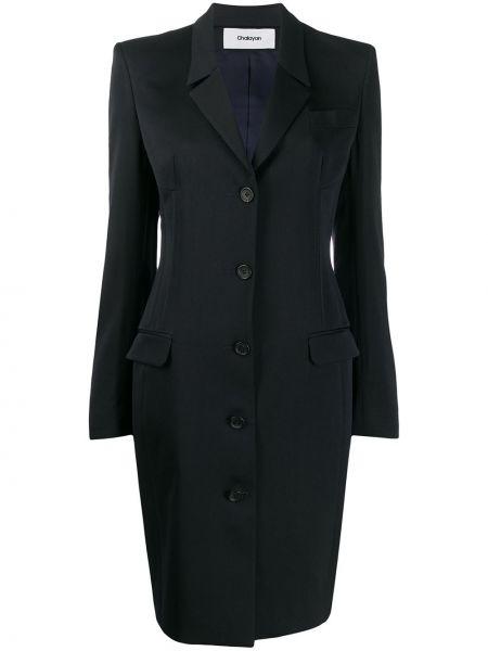 Синее шерстяное длинное пальто с капюшоном Chalayan