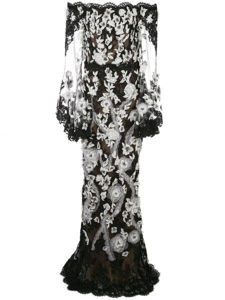 Нейлоновое черное вечернее платье прозрачное на молнии Marchesa