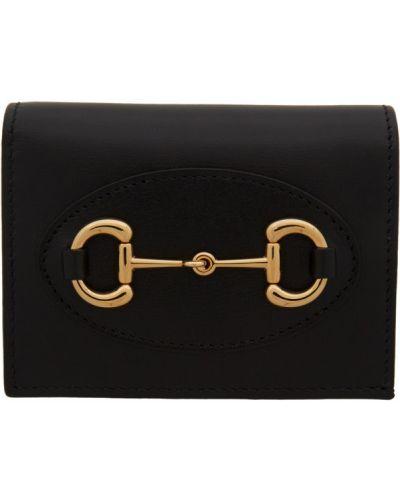 Czarny portfel skórzany z prawdziwej skóry z gniazdem prążkowany Gucci