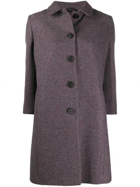 Однобортное шерстяное пальто классическое с воротником на пуговицах Miu Miu