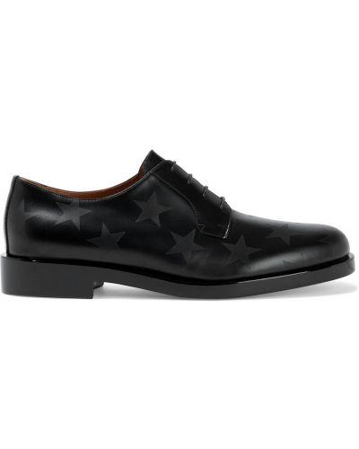 Czarne brogsy koronkowe sznurowane Valentino Garavani