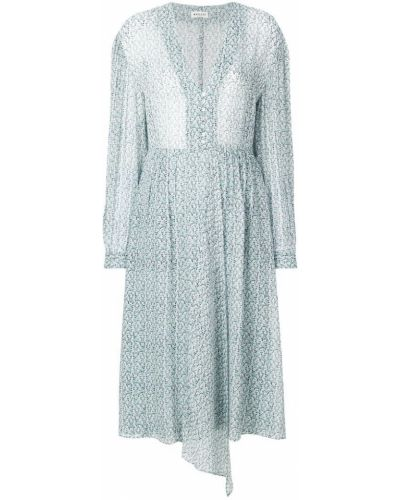Платье с цветочным принтом с V-образным вырезом на пуговицах Masscob