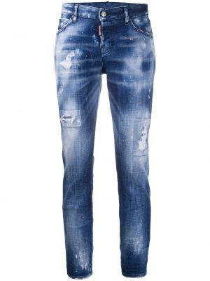 Кожаные синие укороченные джинсы с поясом Dsquared2
