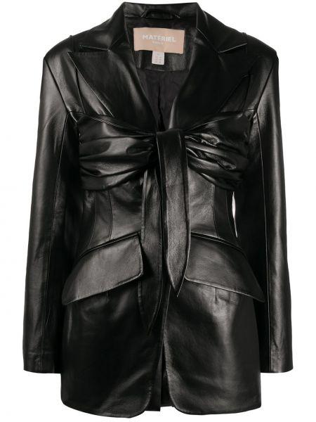 Черный приталенный удлиненный пиджак на пуговицах Matériel