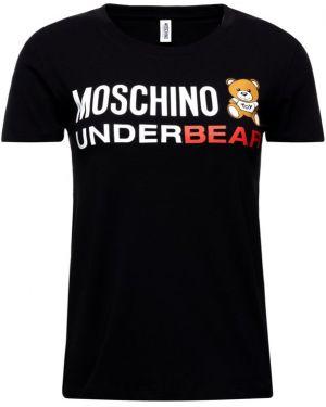 Czarny t-shirt bawełniany Moschino Underwear
