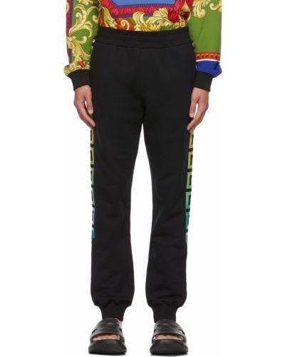Czarne spodnie bawełniane Versace