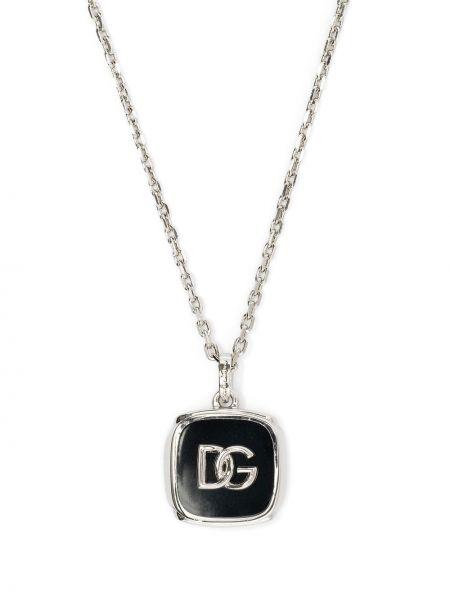 Czarny naszyjnik srebrny Dolce And Gabbana