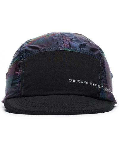 Czarna czapka z nylonu z printem Satisfy