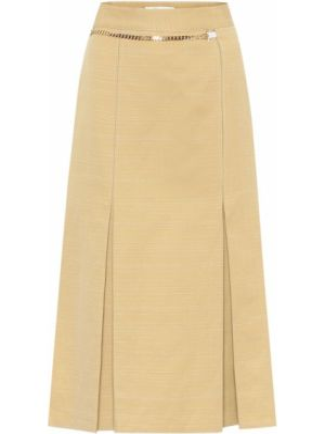 Бежевая льняная юбка миди в рубчик с поясом Victoria Beckham