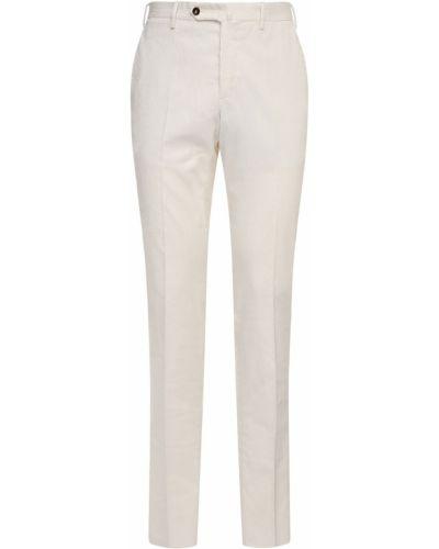 Białe spodnie sztruksowe z paskiem Pantaloni Torino