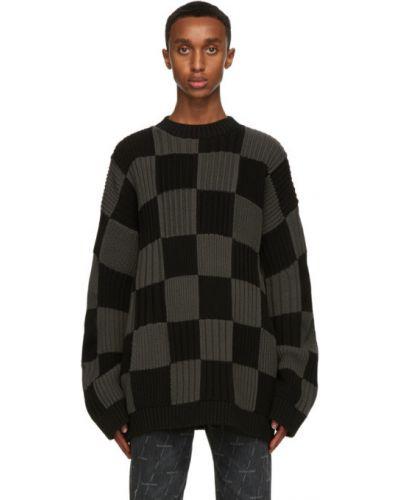 Czarny długi sweter bawełniany z długimi rękawami Balenciaga