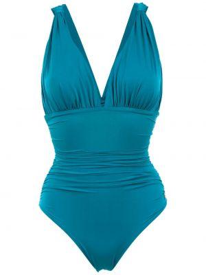 Синий плюшевый слитный купальник с подкладкой Brigitte