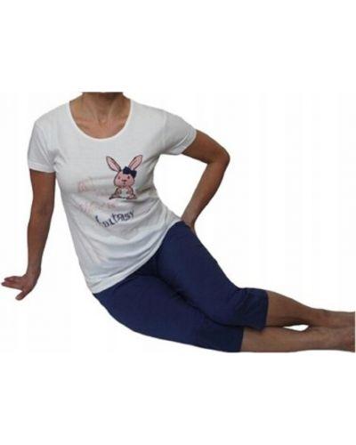 Piżama bawełniana krótki rękaw z printem Atlantic