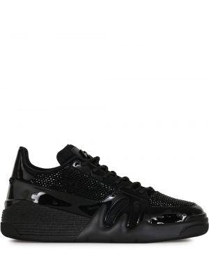 Koronkowa czarny sneakersy zasznurować z prawdziwej skóry Giuseppe Zanotti