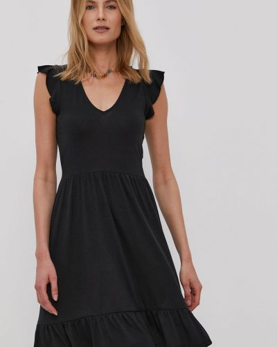 Czarna sukienka mini rozkloszowana z falbanami Jacqueline De Yong