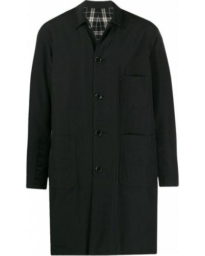 Однобортное шерстяное длинное пальто с воротником на молнии Johnundercover