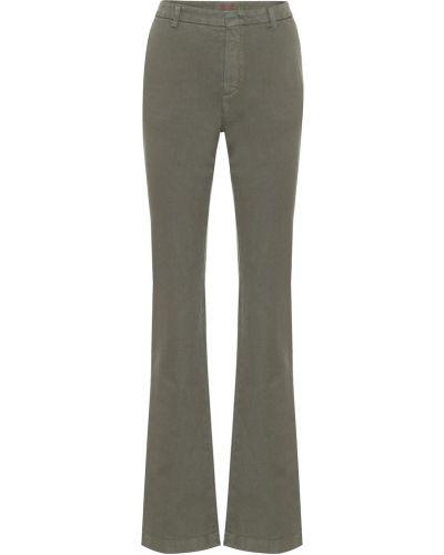Ватные хлопковые расклешенные джинсы стрейч хаки Loro Piana